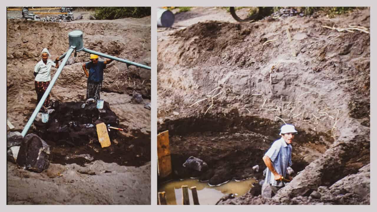 Links: Marjory Press mit einem Mittarbeiter. Rechts: Ulrich Bruderer bei den Grabarbeiten